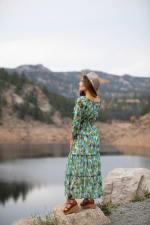 Veronica Maxi Peasant Dress - aqua - Back