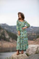 Veronica Maxi Peasant Dress - aqua - Front