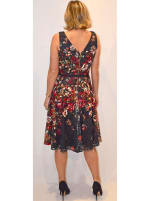 Floral Lace Fit and Flare Midi Dress - Black/Raspberry - Back