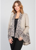 Border Print Open Knit Cardigan - Brown - Front