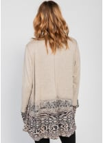 Border Print Open Knit Cardigan - Brown - Back