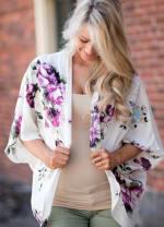 Blossom Kimono - White / Flower Print - Front
