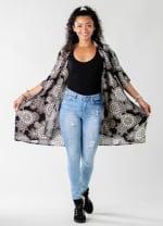 St. Kitts Mandala Kimono Cover Up - Black / Cream - Front