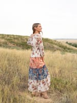 Veronica Butterfly Maxi Peasant Dress - Misses - coral/blue - Back