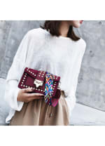 Betty Shoulder Bag - Velvet Finish - Burgundy - Back