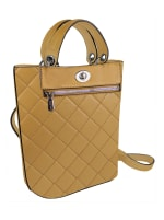 Ellen Tracy Smooth PU Quilted Top Handle Shopper W. Crossbody - Natural - Front
