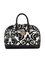 Antonia Leather Handbag - Black / White Print - Front