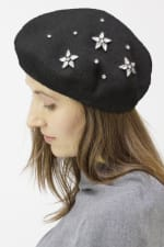Adrienne Vittadini Fall Beret Hat With Embellishment - Black / Silver - Front