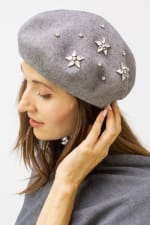 Adrienne Vittadini Fall Beret Hat With Embellishment - Grey / Silver - Front