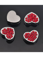 Red Pave Heart Silver Charms - 1