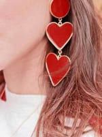 2 Red Heart Earrings - 2