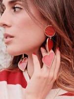 2 Red Heart Earrings - 1