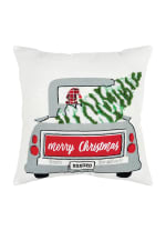 "Christmas Frosty Tree Delivery 20""x20"" Multi Color Cotton Poly Filled Pillow - Green - Back"