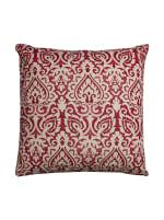 Damask Red & Natural Throw Pillow - 1