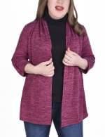 3/4 Sleeve Cardigan With Mask-Cowl Neck Inset - Plus - 4