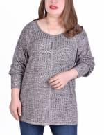 Long Sleeve Cuffed Rib Pullover - Plus - 4