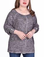 Long Sleeve Cuffed Rib Pullover - Plus - 10