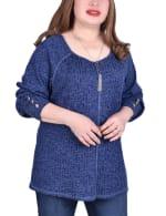 Long Sleeve Cuffed Rib Pullover - Plus - 13