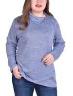 Long Sleeve Zippered High Neck Pullover - Plus - 4