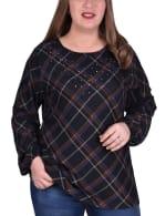 Plaid Pullover With Elastic Cuff - Plus - Black Plaid - Front