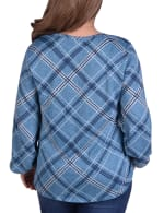 Plaid Pullover With Elastic Cuff - Plus - Turquoise Plaid - Back