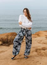 Barbados Harem Pants - Navy Blue / White - Front