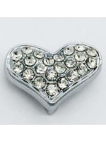 Pave Heart - Silver Charm - 1