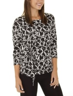 Elbow Sleeve Pullover With Drawstring Detail - 3