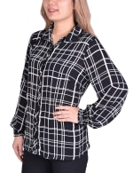 Long Sleeve Rounded Collar Blouse - Petite - 8