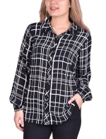 Long Sleeve Rounded Collar Blouse - Petite - 6