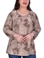 Long Sleeve Tunic With Neckline Cutouts - Plus - 4