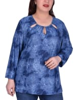 Long Sleeve Tunic With Neckline Cutouts - Plus - Denim - Front