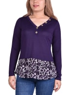 Hacci Top With Printed Hem Inset - 4