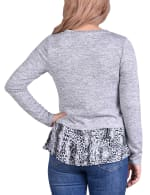 Hacci Top With Printed Hem Inset - 8