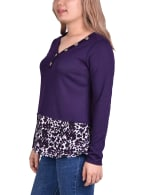 Hacci Top With Printed Hem Inset - 6