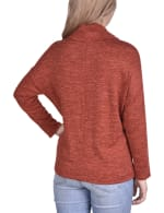 Long Sleeve Cowl Neck sweater With Button Detail Top - 2