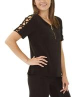 Short Sleeve Zippered Knit Top - Petite - 3