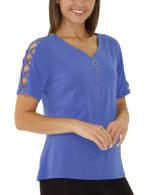 Short Sleeve Zippered Knit Top - Petite - 6