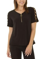 Short Sleeve Zippered Knit Top - Petite - 1