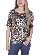 Short Sleeve Top blouse With Front Grommets And Tabs - 1