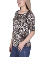 Short Sleeve Top blouse With Front Grommets And Tabs - 3