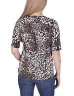 Short Sleeve Top blouse With Front Grommets And Tabs - 2