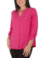 3/4 Roll Tab Sleeve Pullover - Petite - Magenta - Front
