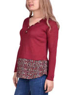 Hacci Top With Printed Hem Inset - 3