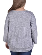 Banded Bottom Tunic Top With Necklace - Plus - 5