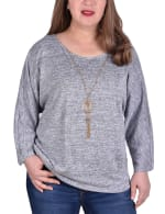 Banded Bottom Tunic Top With Necklace - Plus - 4