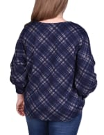 Long Sleeve Plaid Top With Criss Cross Front - Plus - 2