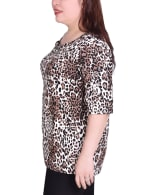 Short Sleeve blouse With Front Grommets And Tabs - Plus - 3