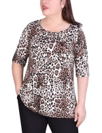 Short Sleeve blouse With Front Grommets And Tabs - Plus - 1