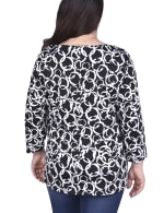 Elbow Sleeve Pullover With Drawstring Detail - Plus - 2